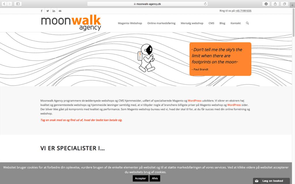 Moonwalk agency homepage