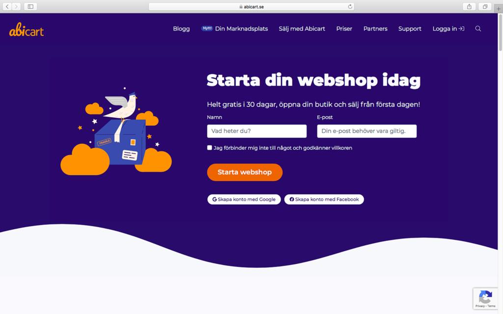 Abicart homepage