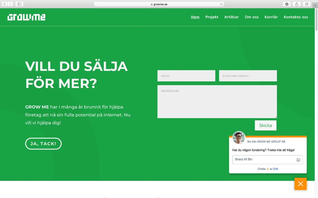 GrowMe homepage