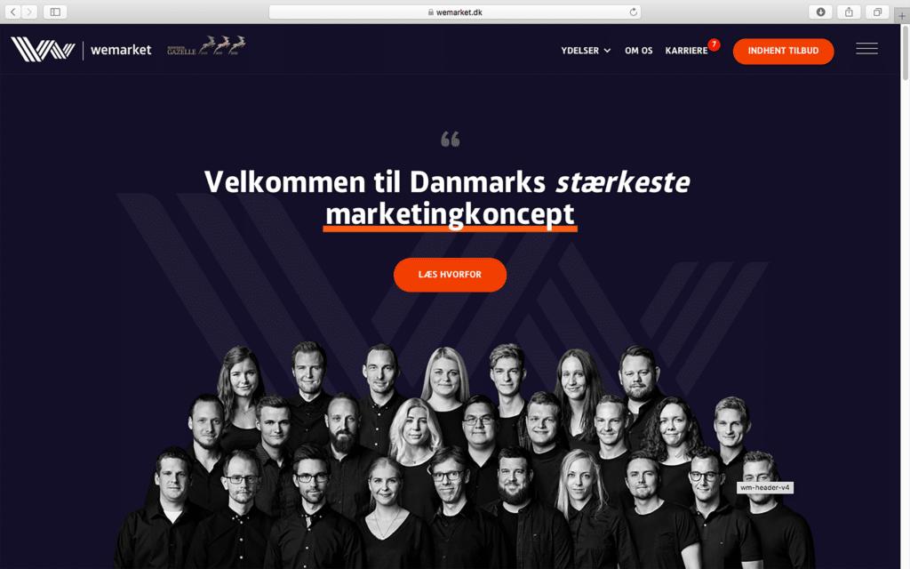 WeMarket homepage
