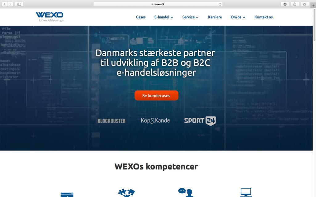 Wexo homepage